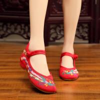 汉服鞋子老北京布鞋女内增高古风绣花鞋女坡跟古装鞋子女民族风鞋 红色 凤凰红色