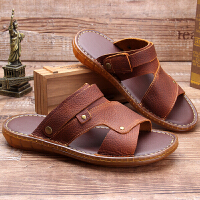 夏季新款真皮男士凉鞋软底防滑头层牛皮凉拖鞋牛皮休闲沙滩鞋