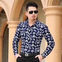 春秋季新款潮男大码长袖格子衬衫男士韩版宽松薄款印花高弹力衬衣