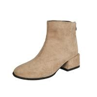 瘦瘦靴粗跟短靴女春秋季新款百搭小方头靴后拉链中跟chic马丁靴子