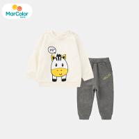 【2件3折】马卡乐童装2020春新款男宝宝套装小牛图案印花休闲男童套装