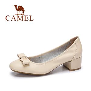 Camel/骆驼女鞋 2017秋季新款 优雅通勤单鞋女 蝴蝶结粗跟单鞋