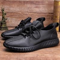 男鞋休闲皮鞋软底真皮透气牛皮单鞋运动鞋透气圆头徒步鞋春夏 黑色