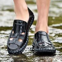 品牌新款男鞋夏季流行男凉鞋户外休闲鞋登山驾车骑行鞋真皮防水防滑手工鞋