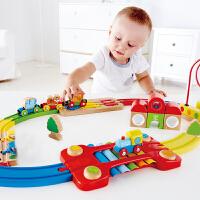 Hape儿童模型玩具火车轨道早旋律积木套18M+