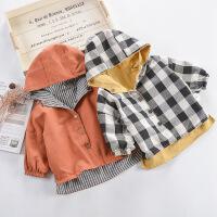 男童春秋装小童宝宝风衣外套婴儿大衣中长款春秋夹克两面穿上衣