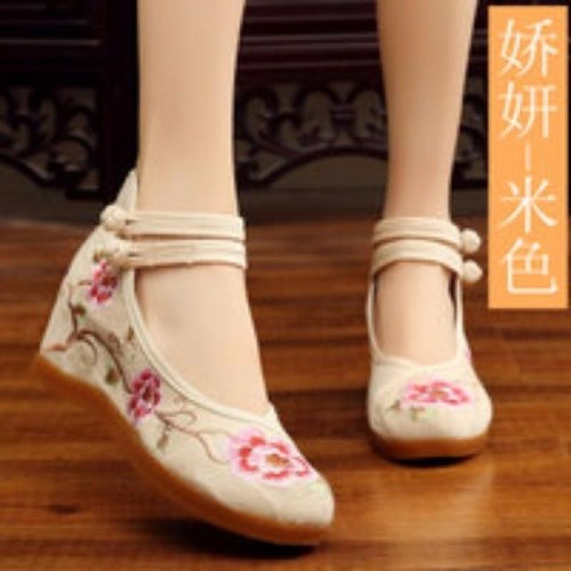老北京布鞋女春2019新款绣花鞋女内增高时尚古风鞋子女汉服鞋高跟