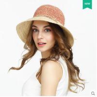 太阳帽拼色盆帽可折叠时尚 拉菲草帽女夏天出游遮阳帽百搭