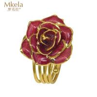 梦克拉 鲜花玫瑰烤漆戒指 玫瑰花戒指红色玫瑰花