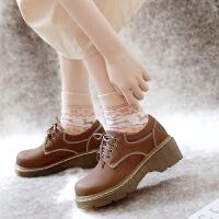 增高小皮鞋英伦学院风女鞋软底复古大头鞋春森女日系可爱软妹厚底 卡其 色