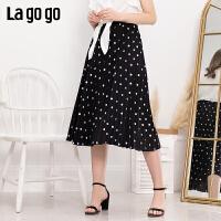 【清仓5折价116】Lagogo/拉谷谷2019年夏季新款时尚女波点半裙IABB304F53