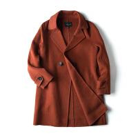 【1折价63.9元】唐狮冬装款毛呢外套女款宽松休闲净色一粒扣双面呢中长外套时尚