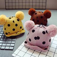 儿童宝宝棒球帽秋冬鸭舌帽男童女童软檐5个月-2岁双球帽