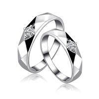 对戒钻石戒指男女一对纯银镀铂金饰品日韩简约学生尾戒