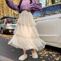 很仙的裙子女学生韩版秋冬蛋糕裙半身裙纱裙黑色多层次网纱仙女裙