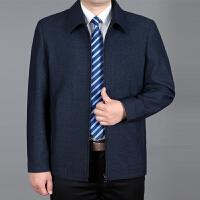 2018春秋季新款男士夹克衫中年爸爸装翻领外套商务休闲茄克上衣男 深蓝色 1711翻领