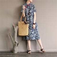 原创设计棉麻女装民族风印花盘扣袍子复古开叉改良旗袍宽松连衣裙GH8701 图片色 均码