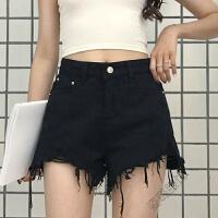 夏季女装韩版时尚毛边牛仔短裤高腰百搭阔腿裤学生热裤潮