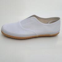 双星白色帆布鞋牛筋底纯色一脚蹬松紧口男女通用卫生鞋懒人运动鞋