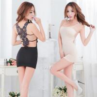 女士性感睡衣极度诱惑睡裙空姐秘书制服情趣套装吊带修身包臀短裙 黑色(保密发货) 均码(80-100斤)