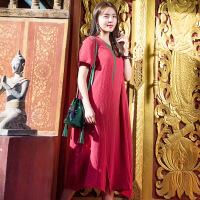 魅儿2018夏季新款原创设计棉麻民族风女装连衣裙绣花开叉长裙GH13601 均码
