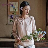 生活在左2019春夏季新品女装真丝上衣长袖桑蚕丝衬衣文艺复古衬衫