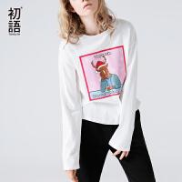 【初语大牌日】初语2017年秋冬季新款 印花图案圆领长袖宽松T恤女长袖上衣女