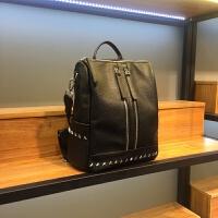 斑马纹双肩包女韩版2018新款两用旅行包背包大容量铆钉电脑包书包