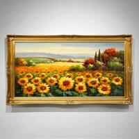 欧式花卉油画手绘向日葵挂画客厅玄关装饰画过道卧室壁画定制 220*100 单幅