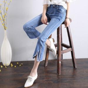 2017新款夏季微喇叭时尚潮流学生中腰九分牛仔裤