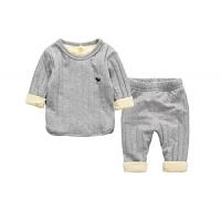 婴幼儿童2岁宝宝纯棉3加绒加厚保暖内衣套装秋冬款男童家居服睡衣 灰色 尺码偏小一码