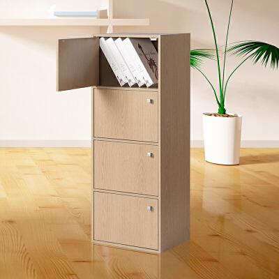 好事达 带门四层柜9376白枫木 书架书柜 收纳储物柜子 优品优质