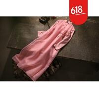 原创设计师原创精品手绘文艺复古连衣裙 秋冬打底长裙 蓝色玉兰花GH026 粉红色 肩部手绘牡丹
