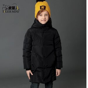男童加厚长款羽绒服 儿童厚墩墩7白鸭绒外套冬装9小虎宝儿童装8岁