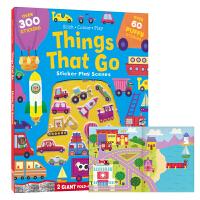 【首页抢券300-100】Fold Out Foam Stickers Things That Go 儿童启蒙认知贴纸书