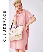 【2件8折/3件75折】云上生活粉色方领短袖女中长款宽松连衣裙2019夏季套头裙L3694