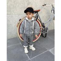 男童冬装帅气宝宝潮儿童连帽运动两件套装