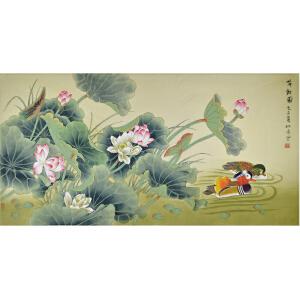 北京美术家新锐联盟画家 柳青 《荷欢图》138*69cm