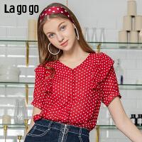 【5折价176】Lagogo/拉谷谷2019年夏季新款上衣碎花宽松雪纺衬衫女IACC203G24