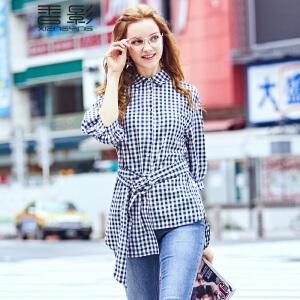 香影格子衬衫女 2017秋装新款时尚不规则翻领七分袖上衣纯棉衬衣