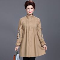 秋季含棉风衣外套女士中年妈妈装大码中长款绣花薄款长袖外套圆领Polo领 XL 95-120斤