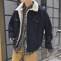 秋冬季韩版男士宽松休闲加厚外套学生牛仔衣潮羊羔毛牛仔夹克帅气