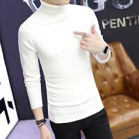 男士高领毛衣男黑色针织衫男冬季韩版潮流修身型加厚纯色打底衫男