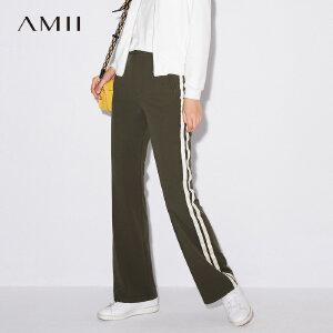 Amii[极简主义]2017秋装新通勤撞色拼接显瘦微弹休闲长裤11774160