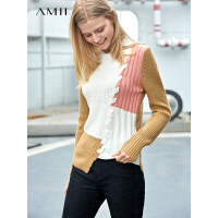 Amii极简时尚洋气撞色套头毛衣女春季款半高领不规则针织上衣