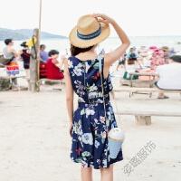 波西米亚度假沙滩裙背后拉链短裙高腰连衣裙两件套装 宝蓝色