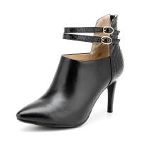 Fondberyl/菲伯丽尔 冬款羊皮蛇纹尖头高细跟短靴女鞋FB54111317