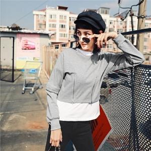 个性套头卫衣秋装宽松学生女装2018新款韩版ulzzang早秋长袖短款