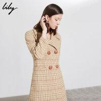 Lily春新款女装复古格纹收腰羊毛中长款毛呢外套118430F1609