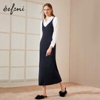 伊芙丽冬装长款荷叶边气质吊带裙连衣裙